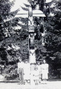 LaMont Family Photo in front of Woodland Park Totem Pole