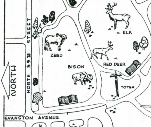 Map of Totem Pole location at Woodland Park from Sherwood's Parks History manuscript