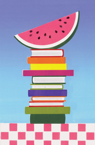 watermelon on stack of books