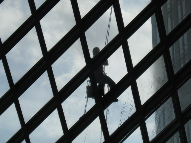 window-washer-at the Central Library