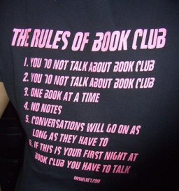 image of Rules of Book Club shirt courtesy of Bob Boyetche via Flickr