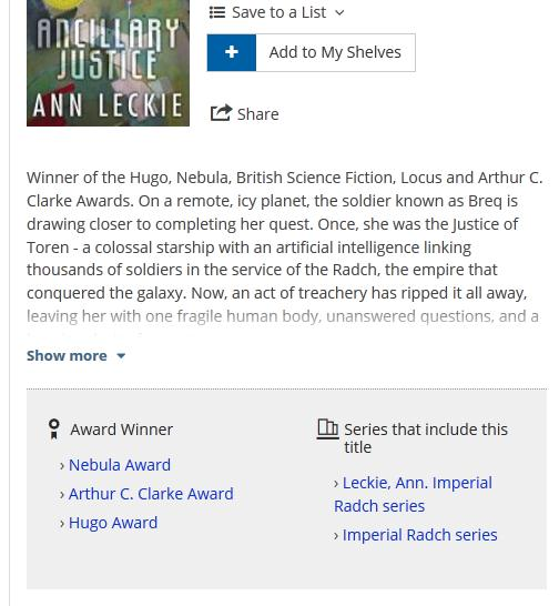 ancillary justice in catalog