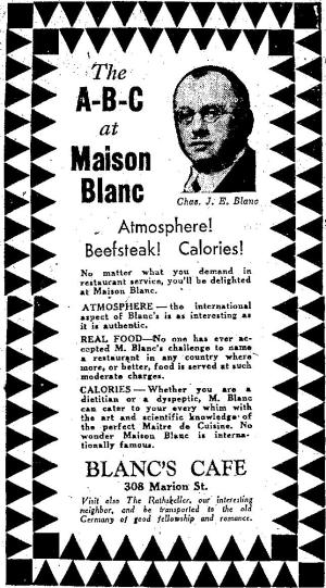 Maison Blanc 1933 Advertisement, Image from The Seattle Times
