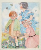 L. H. Moller's Children Chasing Butterflies