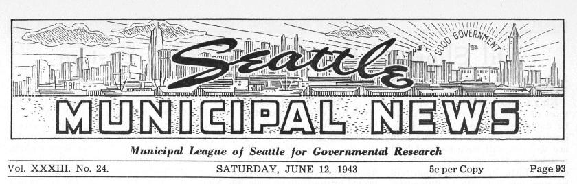 Municipal News Masthead, 1943
