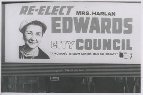 Myrtle Edwards Campaign Billboard, 1960, Werner Lenggenhager Photograph Collection