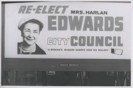 Myrtle Edwards Campaign Billboard, 1960, Werner Lenggenhager Photograph Collection