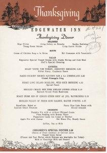Edgewater Inn Thanksgiving menu, circa 1964