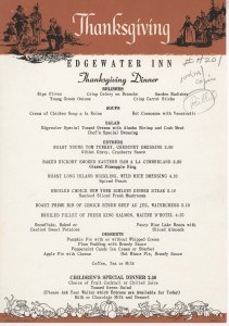 Edgewater Inn Thanksgiving menu, circa 1964