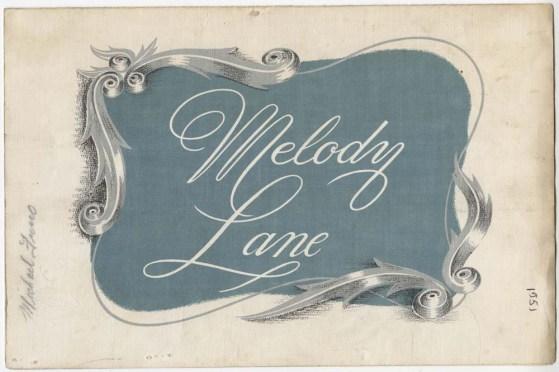 Melody Lane menu, 1951