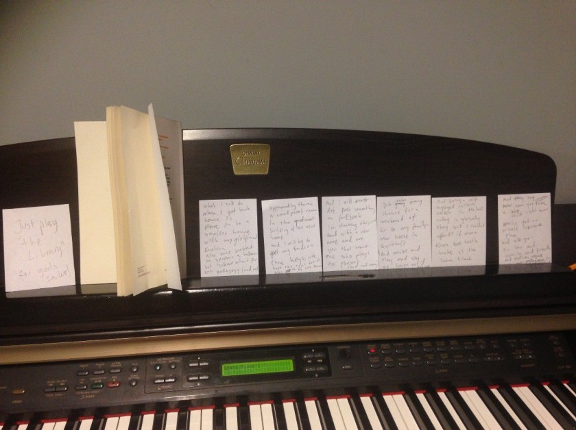 "Image: Lyrics for ""Tomorrow"" composed at The Seattle Public Library"
