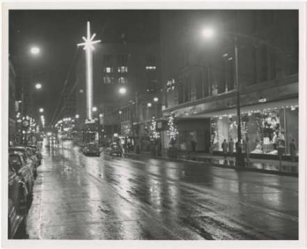 View west on Pine St. with holiday decorations, December 2, 1955