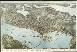 Birds-eye-view of Seattle and environs King County, Wash., 1891, Library of Congress