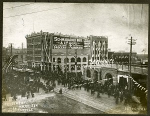 Decorations at 1st and Yesler for President Harrison's parade, 1891