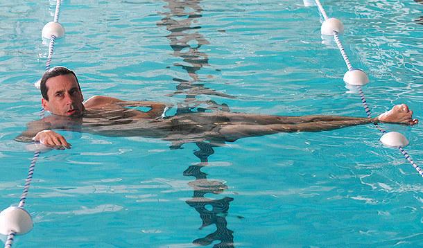 Don Draper Swimming long