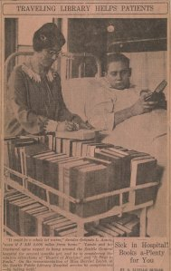 Harriet Leitch helping Seattle General Hospital patient select books, Seattle Star, date unknown