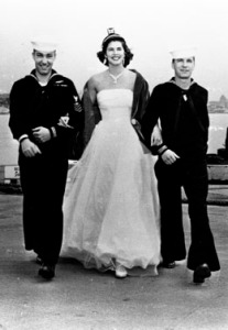 Photo of Seafair royalty with Navy men, ca. 1950 Courtesy Paul Dorpat