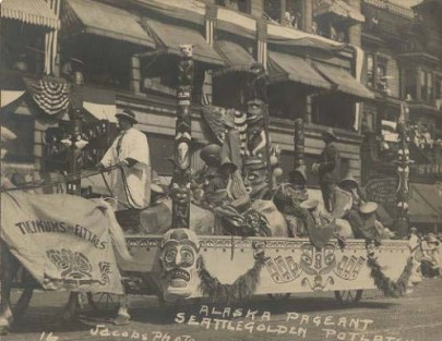 Totem Pole Float in Potlatch Parade, 1912, Seattle Historical Photograph Collection