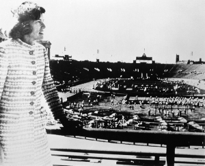 Image of the Special Olympics founder Eunice Kennedy Shriver with the Olympic Stadium in the background