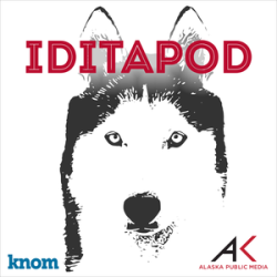 Image: black and white photo of a husky dog's head, with Iditapod written in red at the top