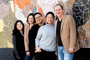 The cast and director of Intiman Theatre's CAUGHT: (from left to right) Narea Kang, Jonelle Jordan, Justin Huertas, director Desdemona Chiang, and Bradford Farwell. Photo by Naomi Ishisaka for Intiman Theatre.