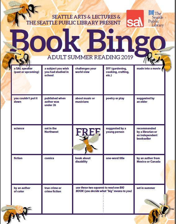 Front of 2019 Book Bingo card