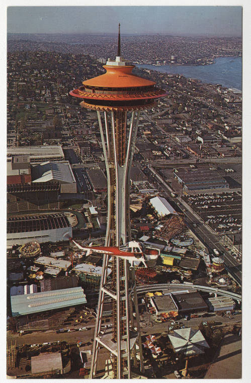 postcard showing view from Space Needle to Lake Union, 1962