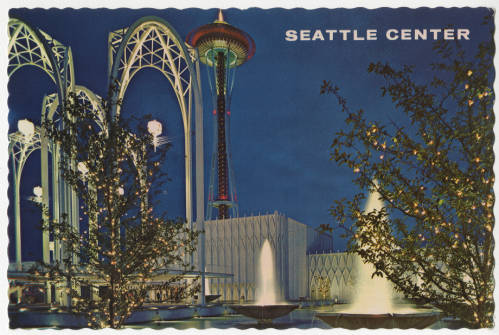 postcard showing Pacific Science Center and Space Needle at night, 1965
