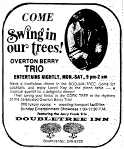 Seattle Times ad for Overton Berry Trio, December 15, 1972