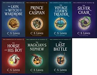 Image of book covers for the Chronicles of Narnia series