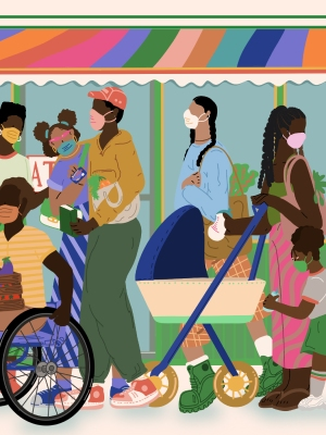 Colorful illustration of people in a bustling city setting: pushing a baby carriage, shopping for produce, with masks.