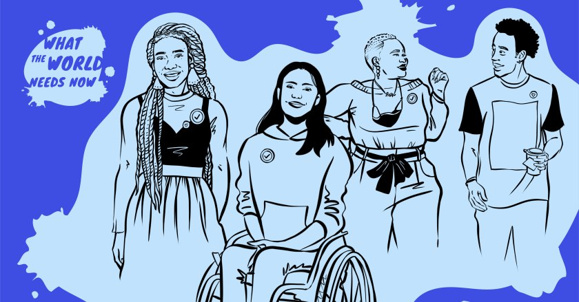 Illustration of three people against a blue background: a person with long hair to the left, a person in a wheel chair in the center, and a person with a mask around their neck to the right.